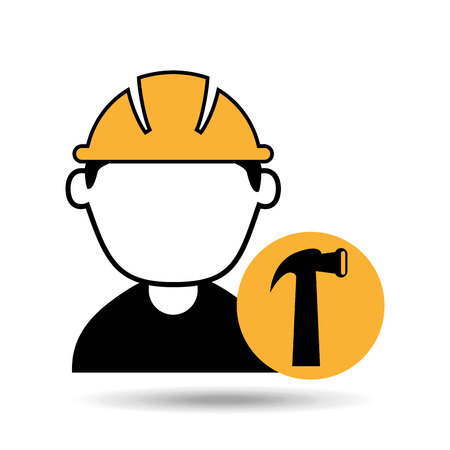 avatar man construction worker with hammer tool icon vector illustration