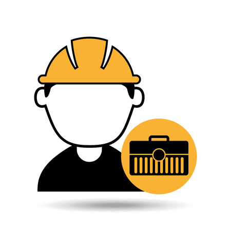avatar man construction worker toolbox icon vector illustration Banco de Imagens - 65442908