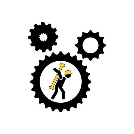 character man worker construction and gears with tool icon vector illustration Illustration