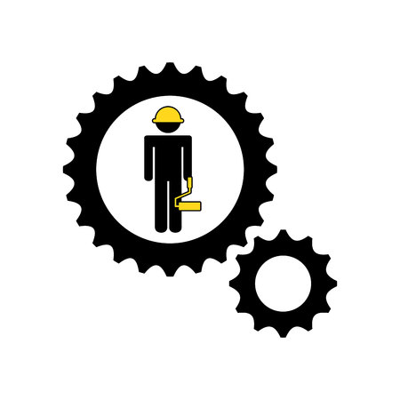 guardsman: character man construction roller icon vector illustration