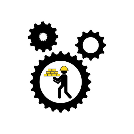 character man construction gears  icon vector illustration