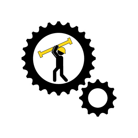 mechanical back: man construction gears carrying tool icon vector illustration