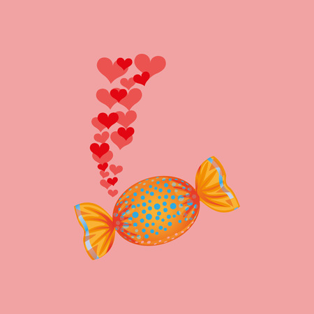 heart cartoon candy sweet and blue dots icon design vector illustration