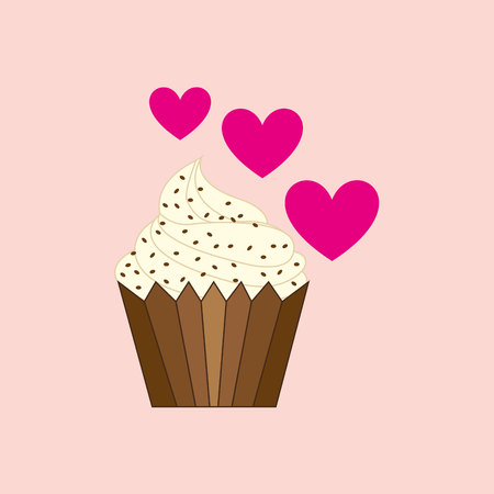 choc: heart cartoon sweet cup cake chip candy icon design vector illustration