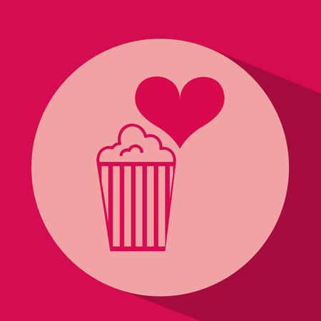 moder: heart red cartoon pop corn icon design vector illustration