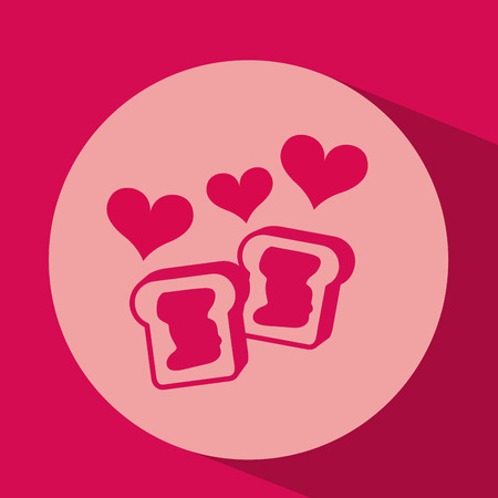 heart red cartoon cookie jam icon design vector illustration