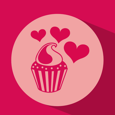 marmalade: heart red cartoon cupckae chips icon design vector illustration