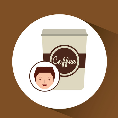 cartoon guy with cup white coffee design icon vector illustration Illustration
