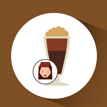 woman cute cup coffee fresh graphic vector illustration