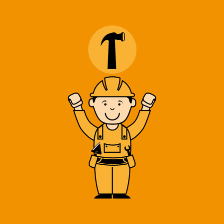 gripe: avatar man construction worker with hammer tool icon vector illustration