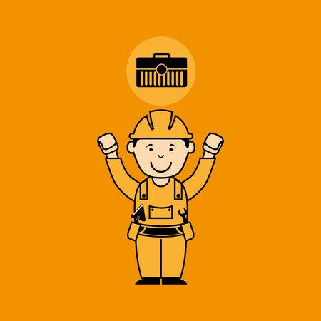 avatar man construction worker toolbox icon vector illustration Ilustração