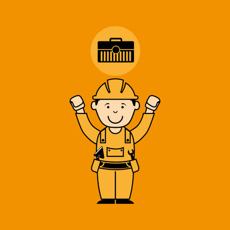 avatar man construction worker toolbox icon vector illustration Illustration