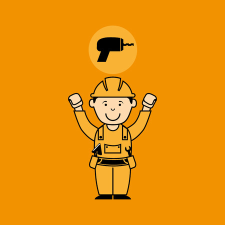 crosscut: avatar man construction worker with drill tool icon vector illustration