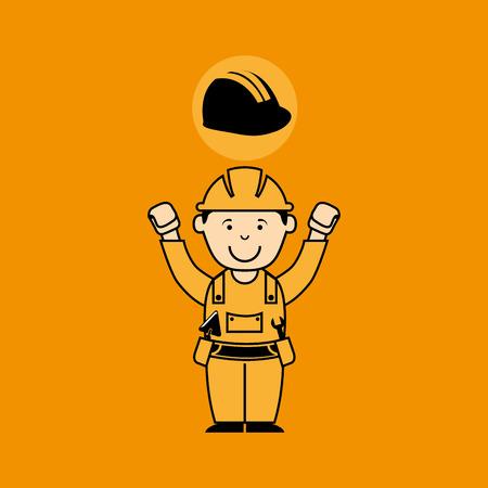 craftsmen repair: avatar man construction worker with helmet icon vector illustration