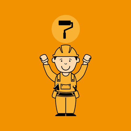 avatar man construction worker with roller paint icon vector illustration Illustration