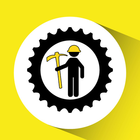 man mining gears  icon vector illustration