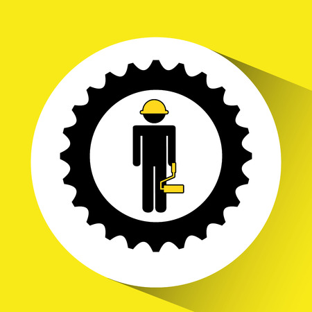 character man construction roller icon vector illustration