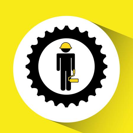 roller brush: character man construction roller icon vector illustration