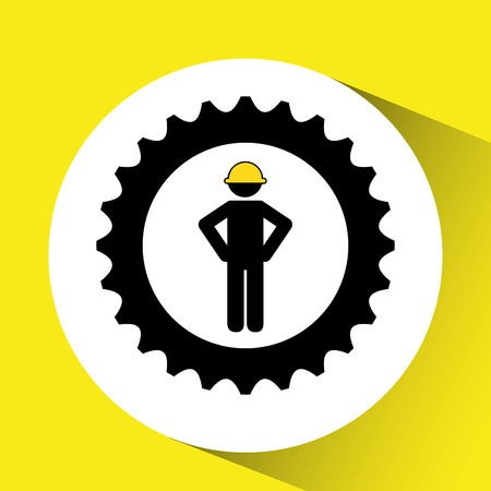 character man worker construction and gears icon vector illustration