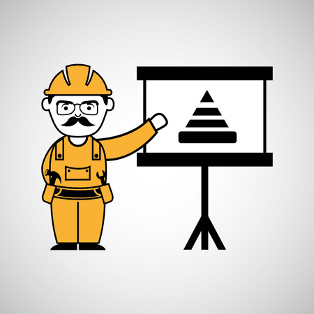 construction man and cone warning graphic vector illustration