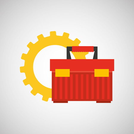 storage compartment: gear construction tool box red vector illustration