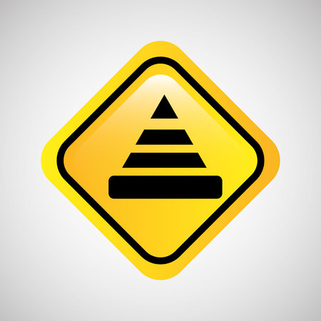warning cone icon metal yellow vector illustration