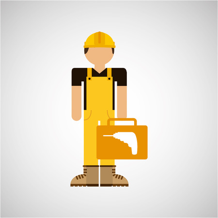 character construction man with tool box drill vector illustration Illustration