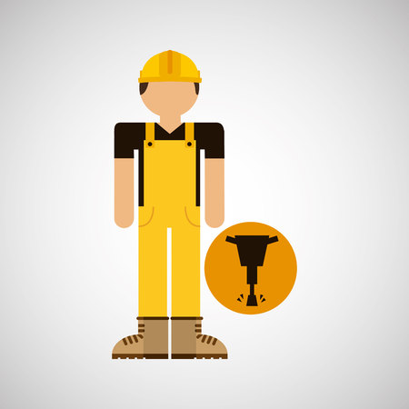 labourers: character construction man with jackhammer vector illustration
