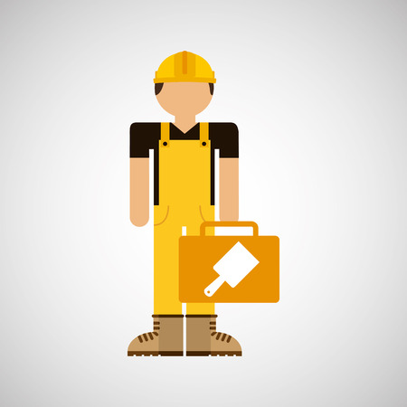 character construction man with tool box brush vector illustration