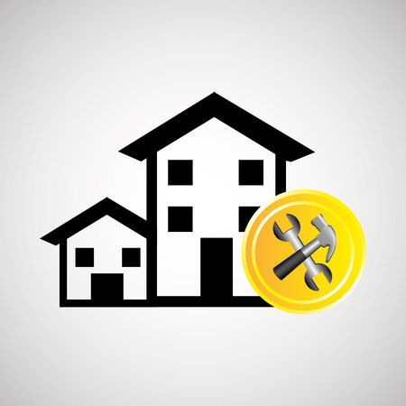 construction remodel hammer and wrench icon graphic vector illustration