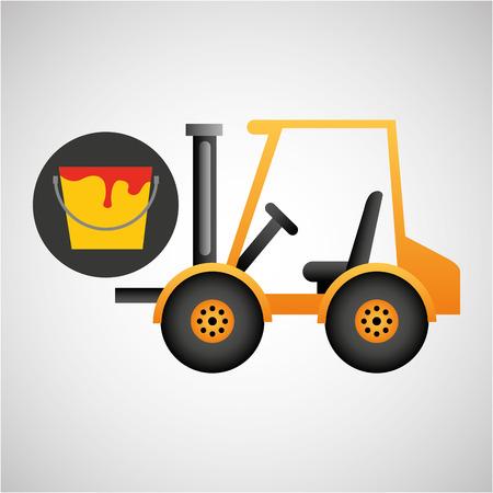 civil construction: forklift truck construction paint icon graphic vector illustration Illustration