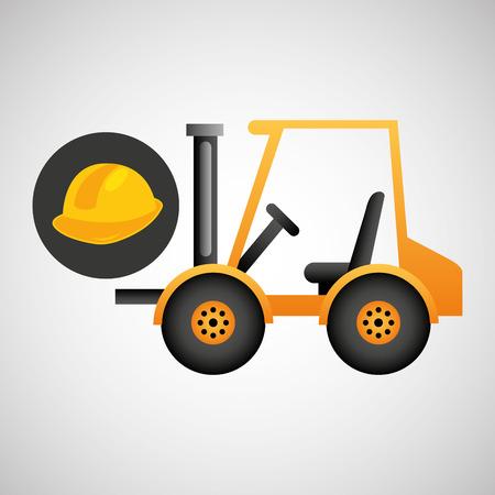 forklift truck construction helmet icon graphic vector illustration