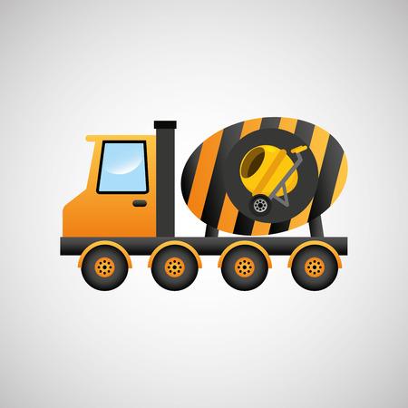 truck concrete mixer: truck mixer concrete icon graphic vector illustration