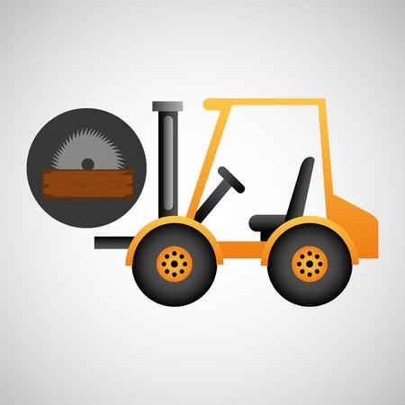 slog: forklift truck construction sawmill icon graphic vector illustration Illustration
