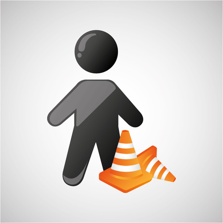 silhouette man and cone warning icon design vector illustration