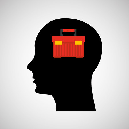 sattelite: head silhouette black icon tool box vector illustration Illustration
