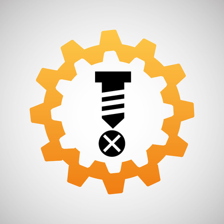 wall plug: construction gear icon screw fixing vector illustration Illustration