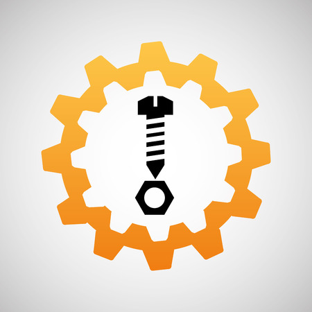 clincher: construction gear icon screw  vector illustration