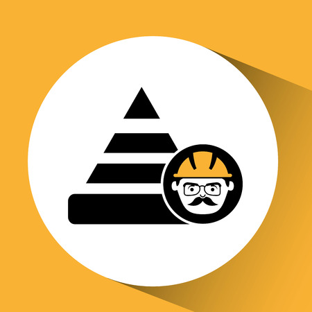 warning graphic: construction man and cone warning graphic vector illustration