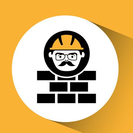 bricks man worker construction design icon vector illustration Illustration