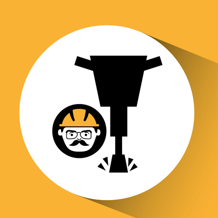 presslufthammer: construction man jackhammer icon graphic vector illustration