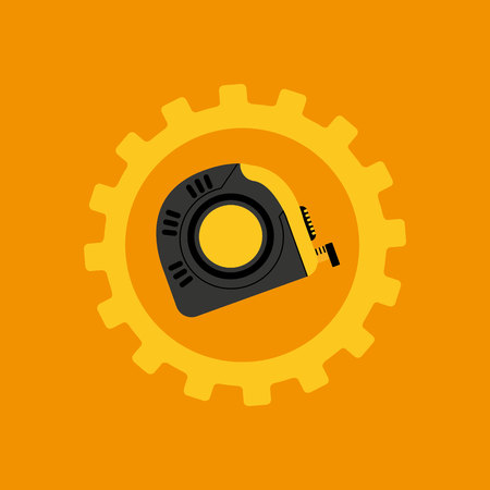 tool box measure tape construction icon design vector illustration