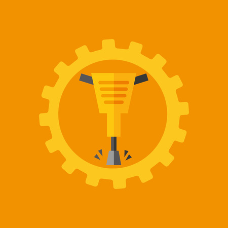 presslufthammer: tool box jackhammer construction icon design vector illustration Illustration