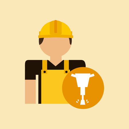 presslufthammer: character construction man with jackhammer vector illustration