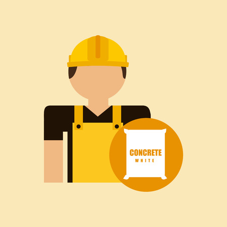 creation of sites: character construction man with concrete vector illustration