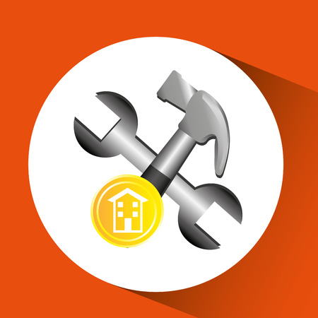 construction remodelhammer and wrench icon graphic vector illustration