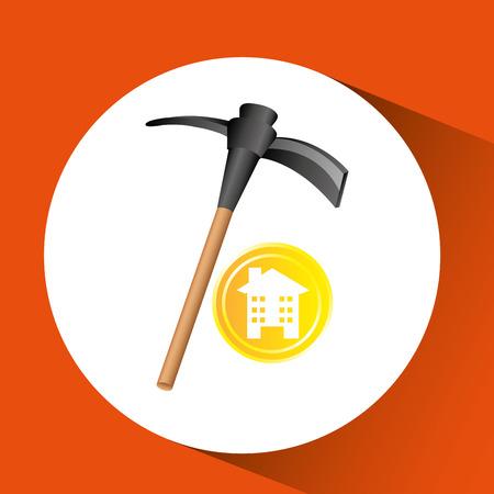 construction pick axe icon graphic vector illustration Illustration