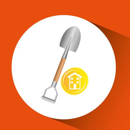 construction remodel shovel icon graphic vector illustration