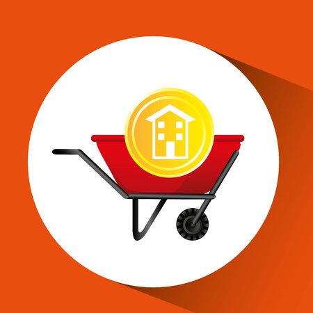 construction remodel wheelbarrow icon graphic vector illustration