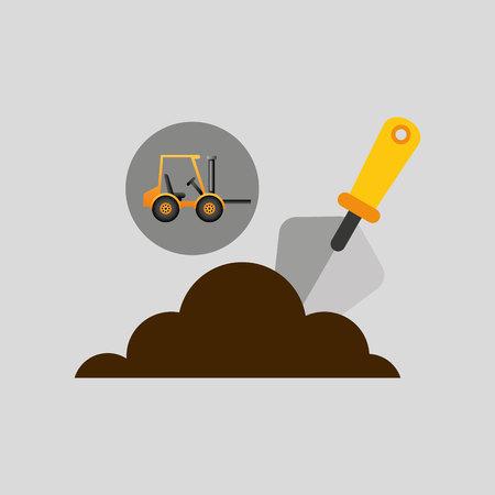 wheeled: excavator wheeled construction spatula design vector illustration Illustration